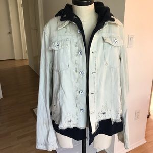 Free People Denim Jacket with Sweatshirt